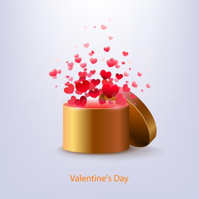Boîte d'or avec des coeurs sur un fond bleu coeurs d'explosion Le VE illustration de vecteur