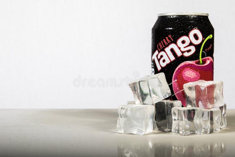Boîte d'A de Cherry Tango effrayant avec de la glace contre un backgroun blanc image libre de droits