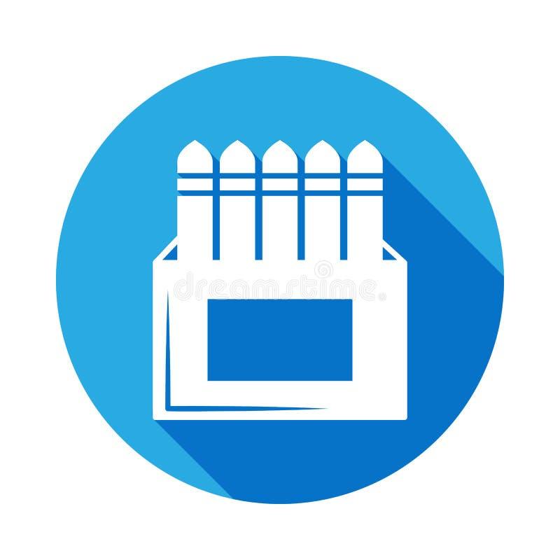 boîte d'icône de craie avec la longue ombre Élément d'illustration d'outils d'art Icône de la meilleure qualité de conception gra illustration libre de droits