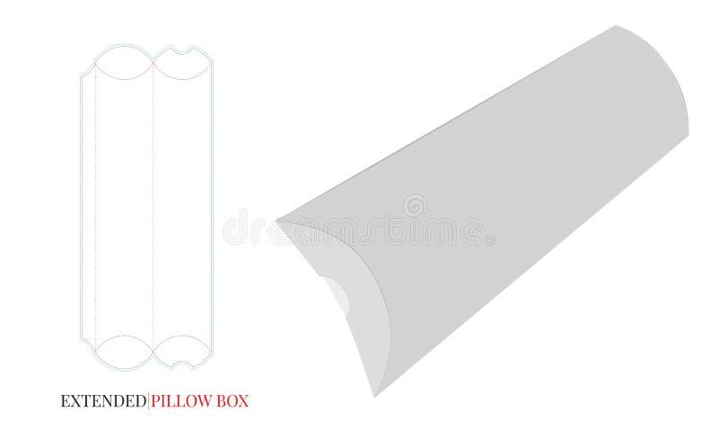 Boîte d'oreiller, boîte prolongée d'oreiller Le vecteur avec découpé/laser avec des matrices a coupé des couches illustration stock
