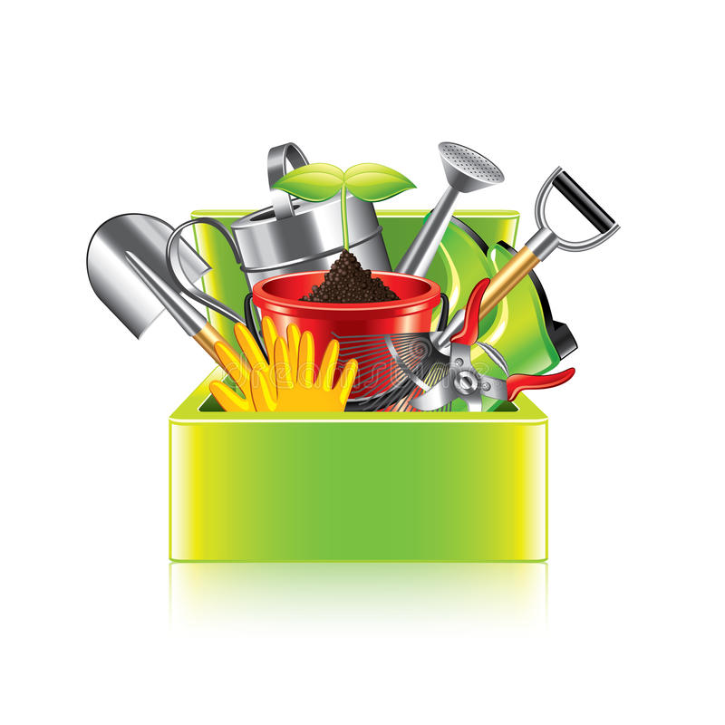 Boîte d'outils de jardin sur le vecteur blanc illustration libre de droits