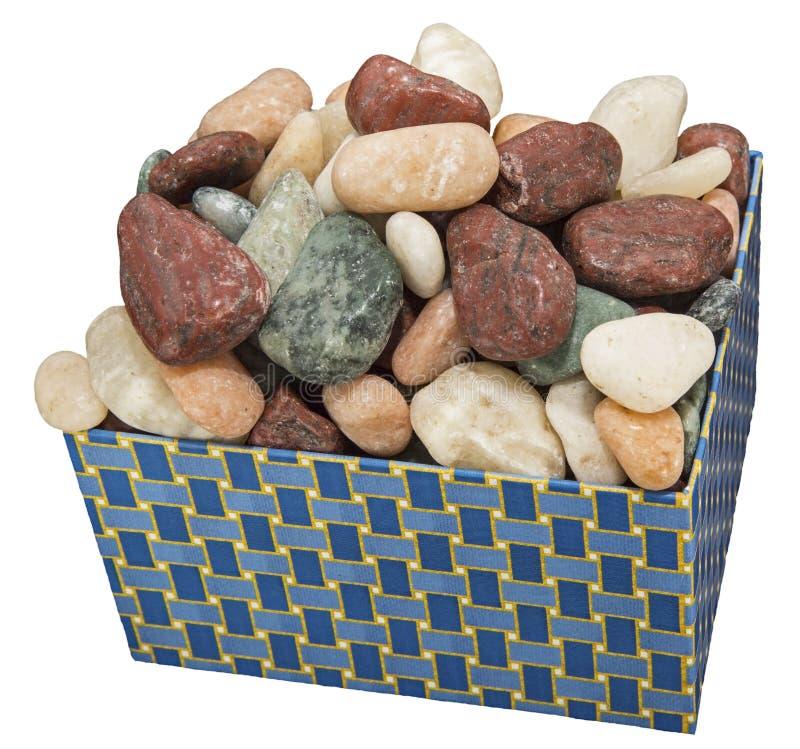 Boîte de blanc d'isolement décoratif de roches photographie stock libre de droits