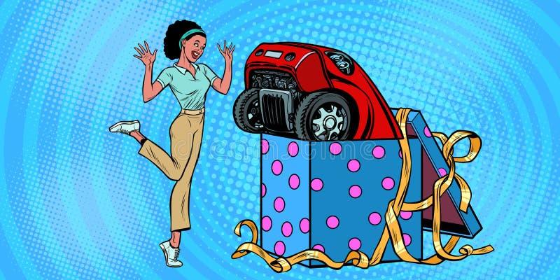 Boîte de cadeau de voiture Joie drôle de réaction de femme africaine illustration stock
