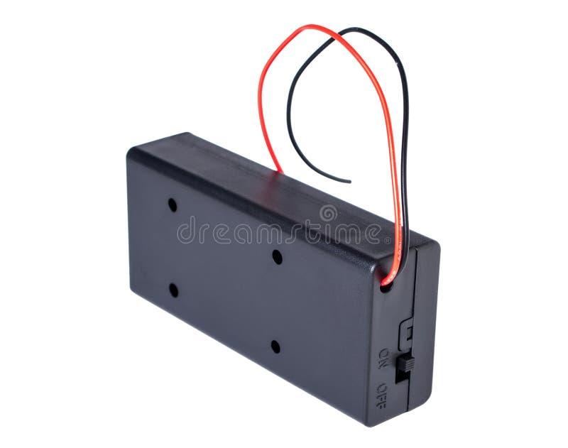 boîte de cas de stockage de connecteur de support de la batterie 2x 18650 SUR le commutateur d'isolement sur le fond blanc photo libre de droits