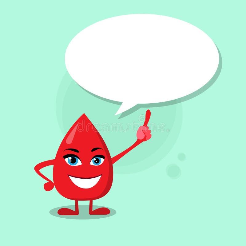 Boîte de causerie de doigt de point de personnage de dessin animé de baisse de sang illustration de vecteur