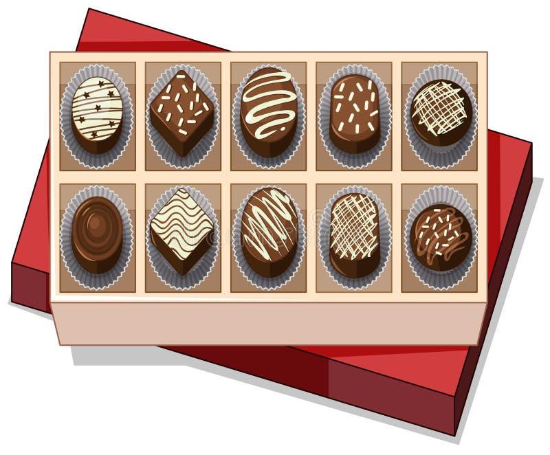 Boîte de chocolat avec le couvercle rouge illustration stock