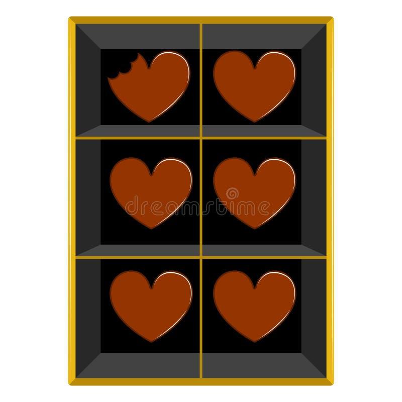 Boîte de chocolats en forme de coeur Jour de Valentine illustration de vecteur