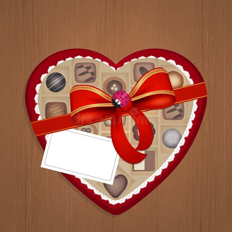Boîte de chocolats sous forme de coeur pour la Saint-Valentin illustration de vecteur