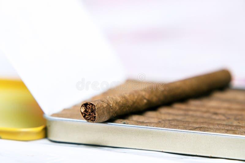 Boîte de cigarillos sur un fond blanc Sur la boîte est un cigarillo image libre de droits