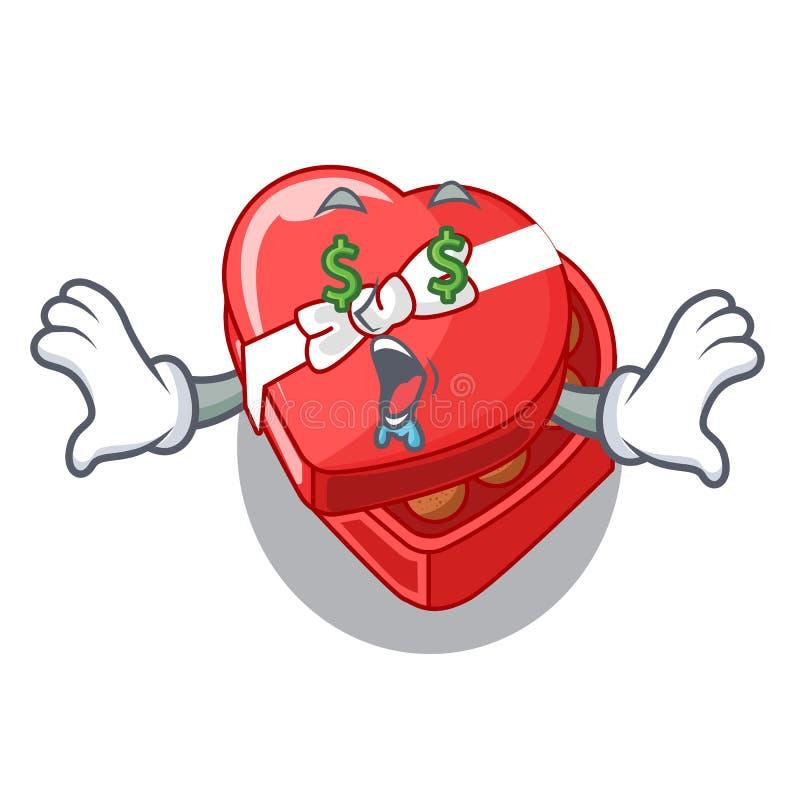 Boîte de coeur de chocolat d'oeil d'argent au-dessus de réfrigérateur de bande dessinée illustration stock