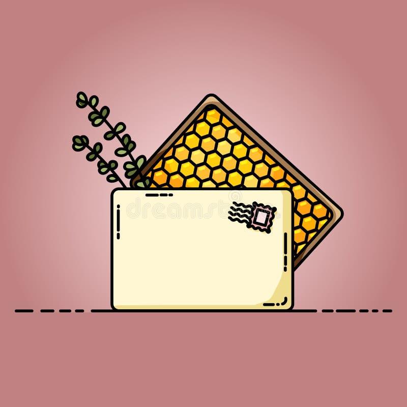 Boîte de colis avec l'illustration organique de miel et d'herbes illustration libre de droits