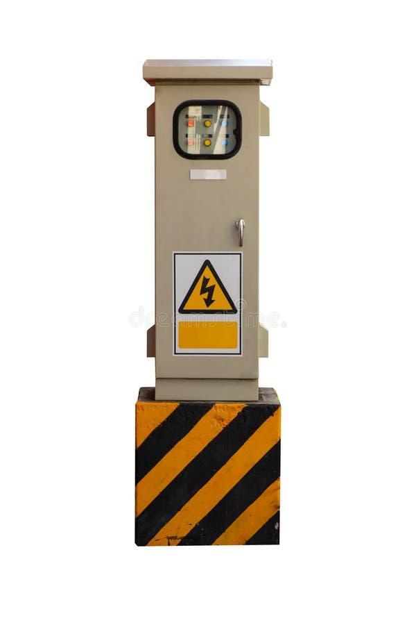Boîte de contrôle électrique d'isolement sur le fond blanc photo stock