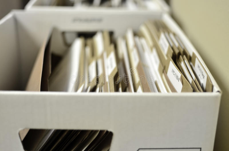Boîte de documents d'organisation de dossiers photos stock