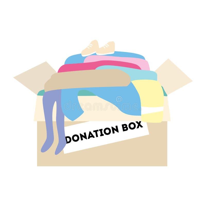 Boîte de donation avec des vêtements illustration de vecteur