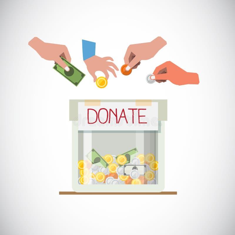 Boîte de donation avec la main - illustration de vecteur