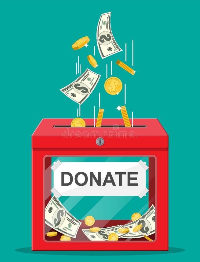 Boîte de donation avec les pièces de monnaie d'or, billets de banque du dollar illustration libre de droits