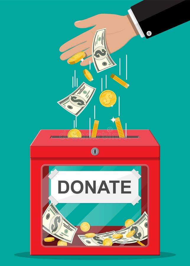 Boîte de donation avec les pièces de monnaie d'or, billets de banque du dollar illustration stock