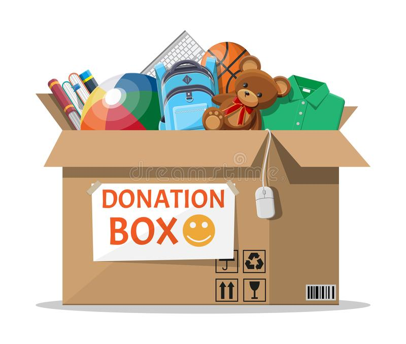 Boîte de donation complètement de jouets, livres, vêtements, dispositifs illustration stock