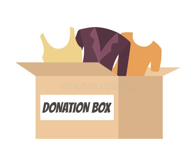 Boîte de donation complètement de vêtements pour des personnes dans le besoin illustration de vecteur