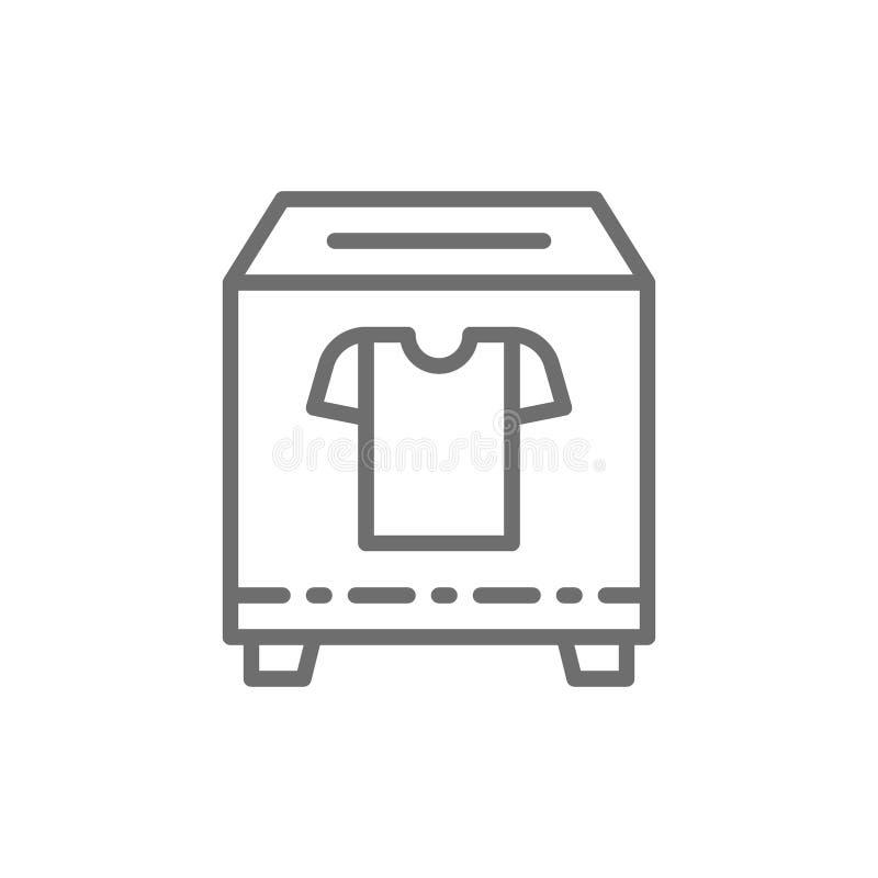 Boîte de donation d'habillement, charité, offrant la ligne icône illustration de vecteur