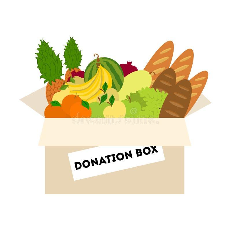Boîte de donation de nourriture illustration stock