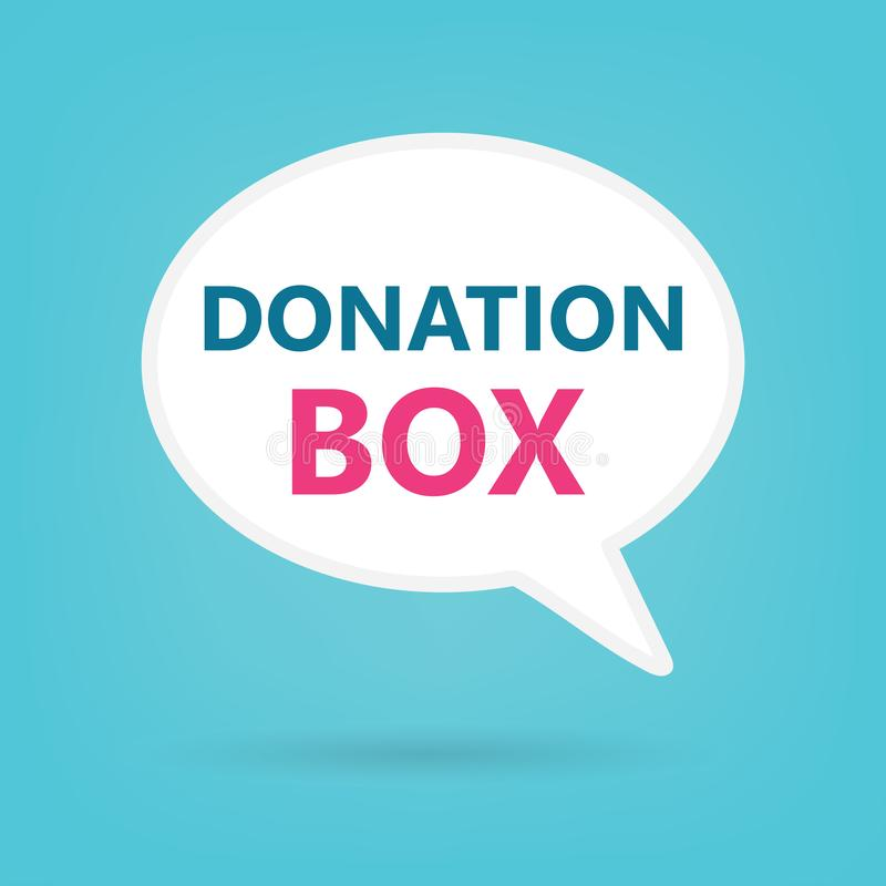Boîte de donation sur une bulle de la parole illustration libre de droits