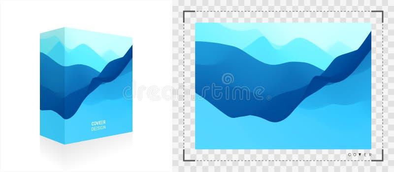 Boîte de empaquetage réaliste Emballage de produit Fond abstrait bleu Paysage réaliste avec des vagues illustration du vecteur 3d illustration stock