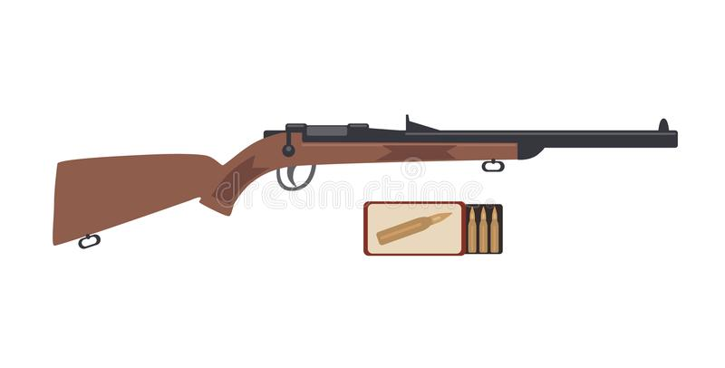 Boîte de fusil et de munitions Illustration de vecteur d'isolement sur le fond blanc illustration de vecteur
