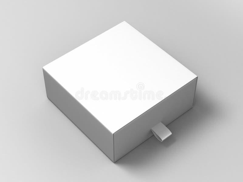 Boîte de glissement blanche de carton de blanc carré réaliste de paquet sur le fond gris Pour de petits éléments, correspondances illustration stock