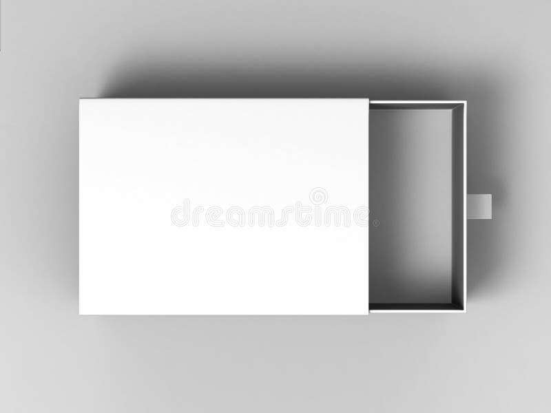 Boîte de glissement blanche de carton de blanc réaliste de paquet sur le fond gris Pour de petits éléments, correspondances, et d illustration stock