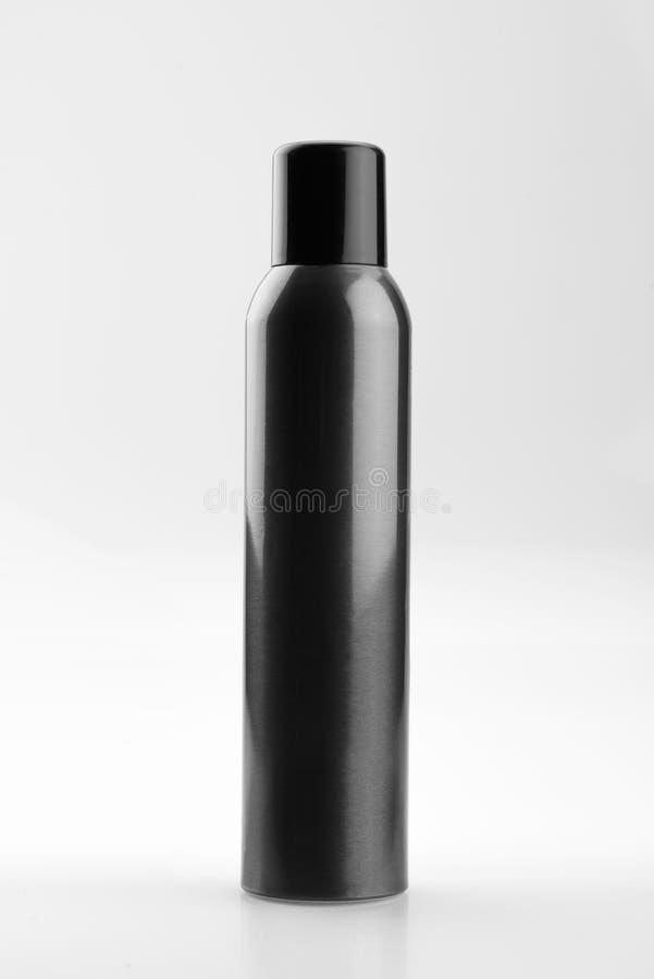 Boîte de jet cosmétique en aluminium noire, d'isolement sur le fond blanc image stock