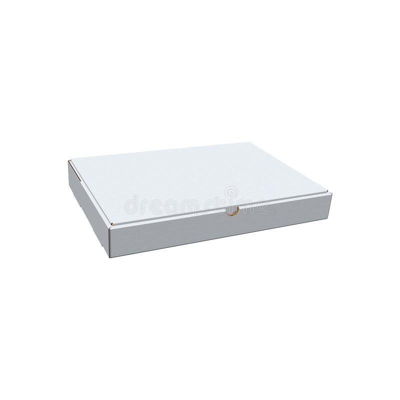 Boîte de la livraison, boîte à pizza, blanc, claire, blanc, d'isolement sur le fond blanc, moquerie de boîte avec la vue de persp illustration stock