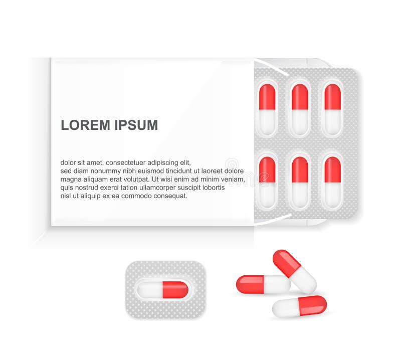 Boîte de livre blanc pour des pilules dans un habillage transparent, d'isolement sur un fond blanc illustration de vecteur