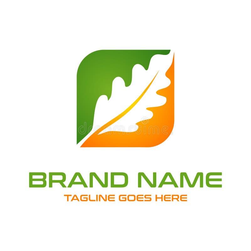 Boîte de logo de feuille de chêne illustration de vecteur