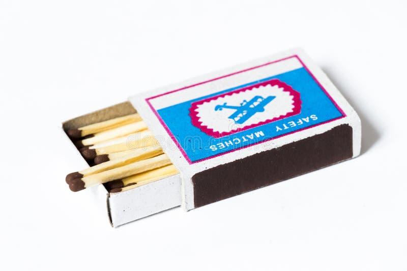 Boîte de matchs en bois image stock