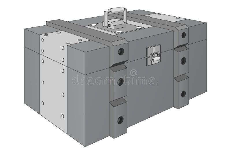 Boîte de munitions d'armée Boîte militaire grise illustration libre de droits