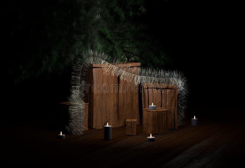 Boîte de Noël avec la tresse de bougies et arbre de chirstmas à l'illustration de la maison 3d illustration stock