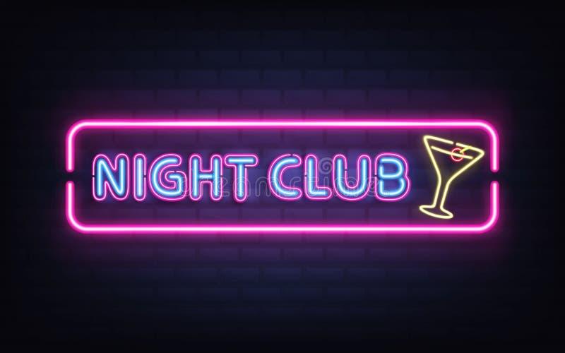 Boîte de nuit, vecteur au néon d'enseigne de barre de cocktail illustration stock
