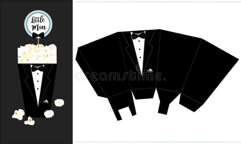 Boîte de papier à maïs éclaté Calibre imprimable pour la petite fête d'anniversaire du ` s d'homme Smoking noir de marié illustration libre de droits