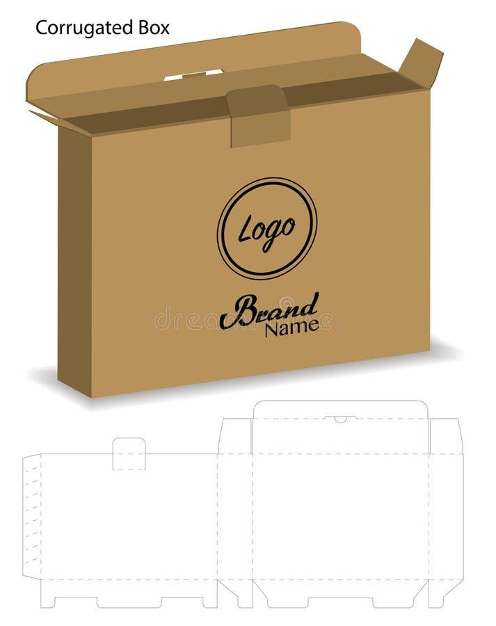 Boîte de papier ondulée découpée avec des matrices avec la moquerie 3d  illustration libre de droits