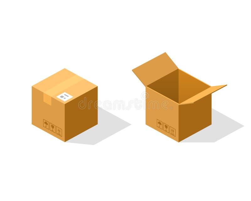 Boîte de papier ouverte et fermée isométrique illustration stock