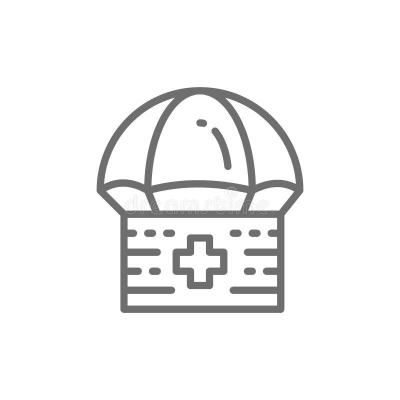 Boîte de parachute de donation, kit de premiers secours, offrant, ligne icône de charité illustration stock