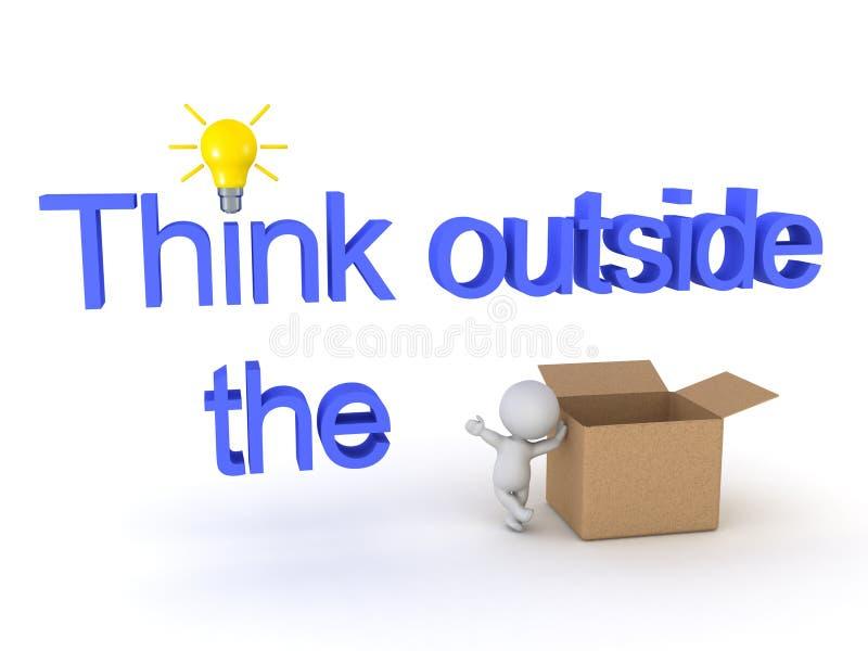 boîte de penchement du caractère 3D dans une pensée en dehors du signe de boîte illustration stock