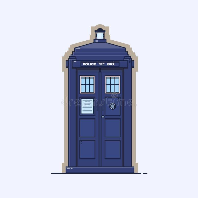 Boîte de police britannique traditionnelle Une cabine téléphonique bleue de police d'isolement sur le fond blanc illustration libre de droits