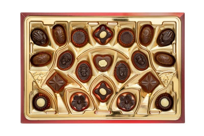 Boîte de pralines délicieuses de chocolat image libre de droits