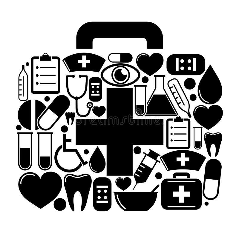 Boîte de premiers secours d'icônes médicales illustration libre de droits