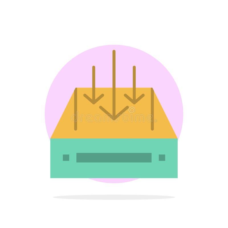 Boîte de réception, courrier, boîte, conteneur, la livraison, icône plate de couleur de fond de cercle d'abrégé sur colis illustration libre de droits