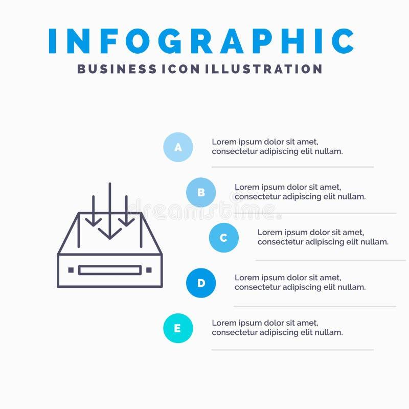 Boîte de réception, courrier, boîte, conteneur, la livraison, ligne icône de colis avec le fond d'infographics de présentation de illustration de vecteur