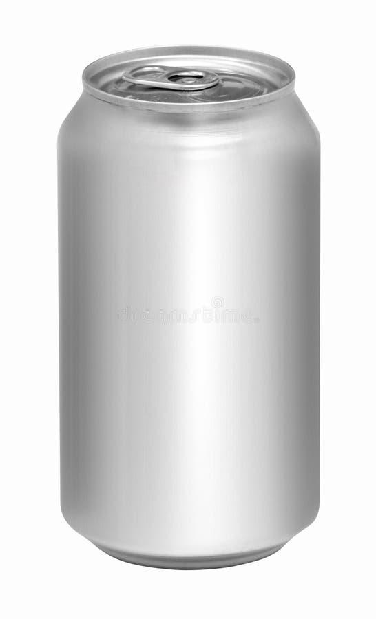 Boîte de soude en aluminium vide d'isolement images libres de droits