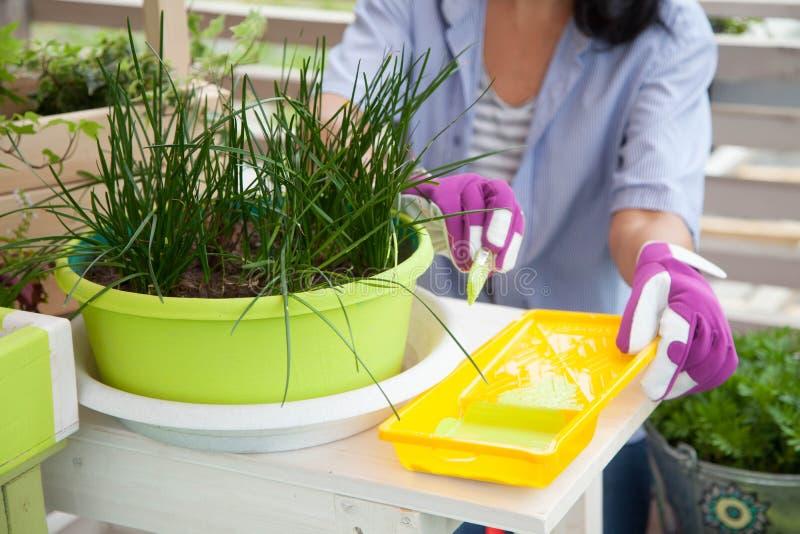 Boîte de sourire heureuse de peinture de femme pour des fleurs Bacs de fleur verts photo libre de droits